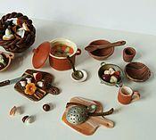 """Куклы и игрушки ручной работы. Ярмарка Мастеров - ручная работа Набор миниатюрной еды """" Грибной день"""", полимерная глина, масштаб 1:12. Handmade."""