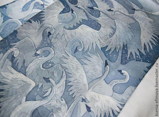 Шарфы и шарфики ручной работы. Ярмарка Мастеров - ручная работа. Купить Шелковый шарф с ручной росписью (батик) -  Лебеди. Handmade.
