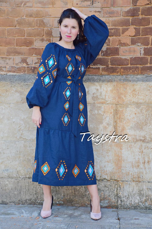 Платье вышиванка, синее платье с вышивкой, Платья, Черновцы,  Фото №1