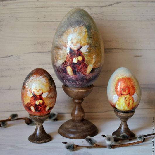 """Подарки на Пасху ручной работы. Ярмарка Мастеров - ручная работа. Купить Пасхальное деревянное яйцо на подставке """" Солнечный Ангел"""". Handmade."""
