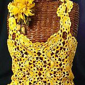 Одежда ручной работы. Ярмарка Мастеров - ручная работа Ажурный солнечный топ крючком. Handmade.