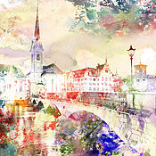 Картины и панно handmade. Livemaster - original item watercolor Old town. Handmade.