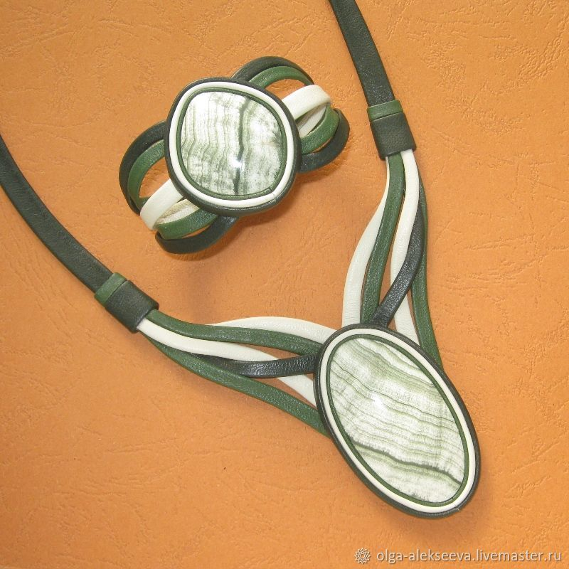 A set of jewellery made from leather with scarn, Jewelry Sets, Izhevsk,  Фото №1