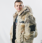 Мужская одежда handmade. Livemaster - original item Coyote fur coat for men with hood. Handmade.