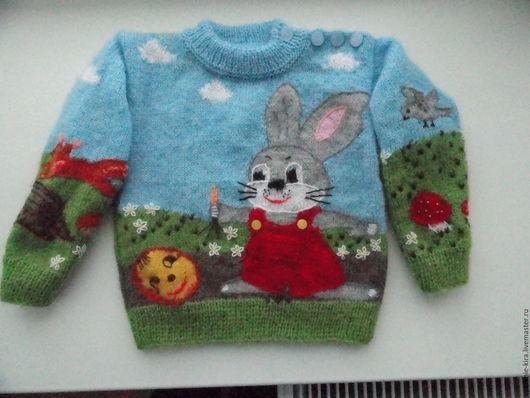 Одежда унисекс ручной работы. Ярмарка Мастеров - ручная работа. Купить пуловер детский с рисунком. Handmade. Пуловер вязаный, колобок