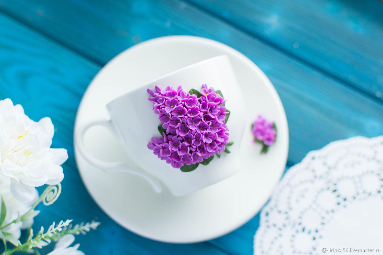 Чайная пара Wilmax сирень из полимерной глины, Чайные пары, Орск,  Фото №1