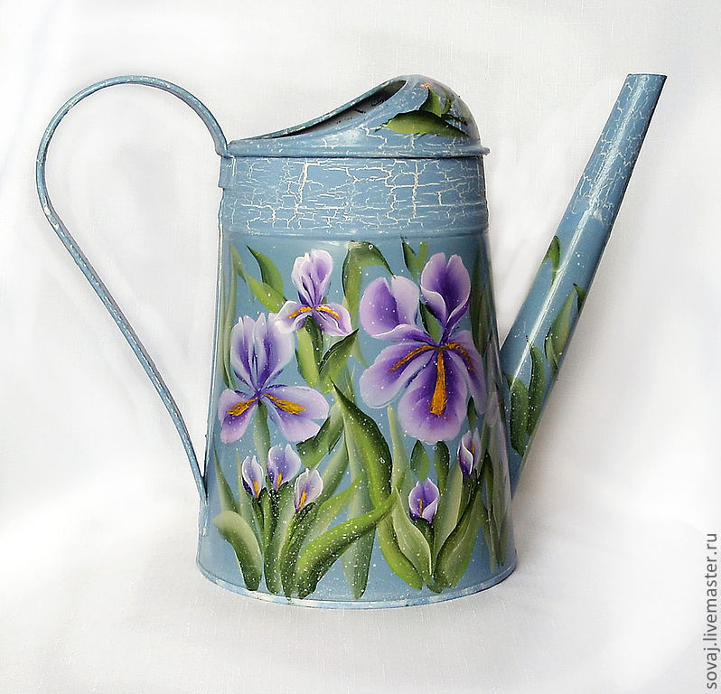 Watering can-painted watering houseplants Iris chic, Heads, ,  Фото №1