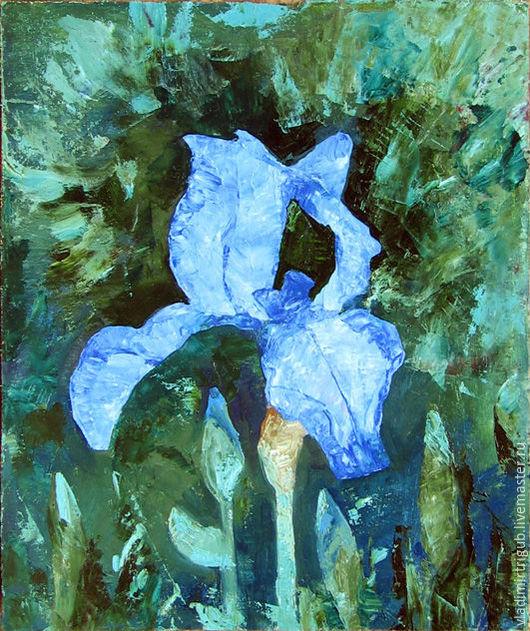 Картины цветов ручной работы. Ярмарка Мастеров - ручная работа. Купить Ирис голубой. Handmade. Цветы, картина для интерьера, ирис