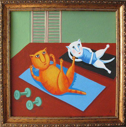 Юмор ручной работы. Ярмарка Мастеров - ручная работа. Купить Зарядка. Handmade. Кот, котик, коты и кошки, подарок