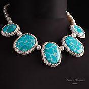 Украшения handmade. Livemaster - original item Blue choker Maldives. Blue stones. Turquoise ocean. White Pearl.. Handmade.