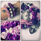 """Украшения ручной работы. Ярмарка Мастеров - ручная работа Комплект браслетов """"Виолетта"""". Handmade."""