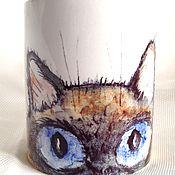 Посуда ручной работы. Ярмарка Мастеров - ручная работа Кружка с принтом Тайский кот. Handmade.