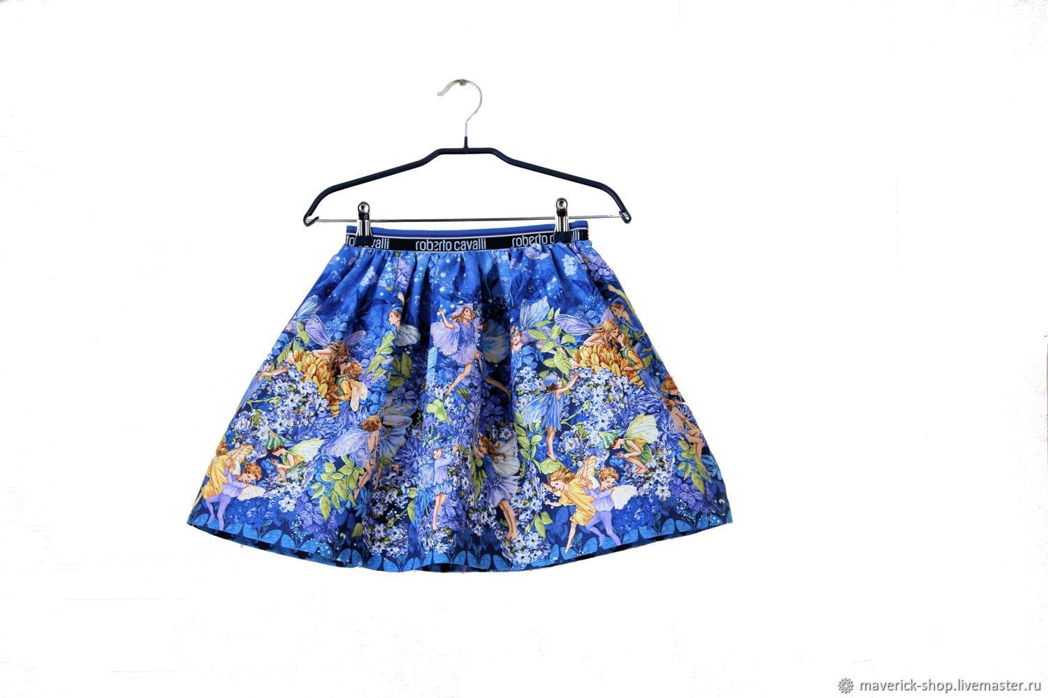 Blue elegant skirt for girls with fairies from American cotton, Child skirt, Moscow,  Фото №1