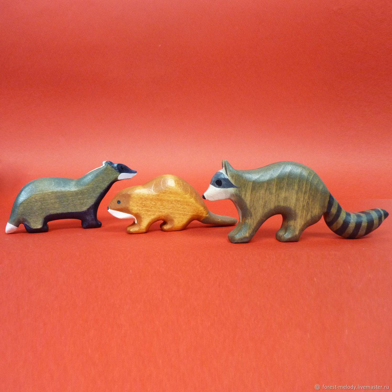 Набор деревянных игрушек Енот-Барсук-Бобёр, Вальдорфские куклы и звери, Новосибирск,  Фото №1