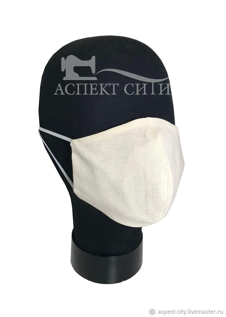 Маска защитная многоразовая, белая, Защитные маски, Москва,  Фото №1