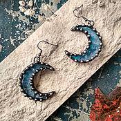 Украшения handmade. Livemaster - original item Moon Earrings Blue-blue Transparent (e-003-03). Handmade.