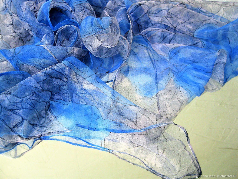 Серый с синим Платок шелк шифон натуральный 100 см на 100см, Валяние, Новосибирск, Фото №1