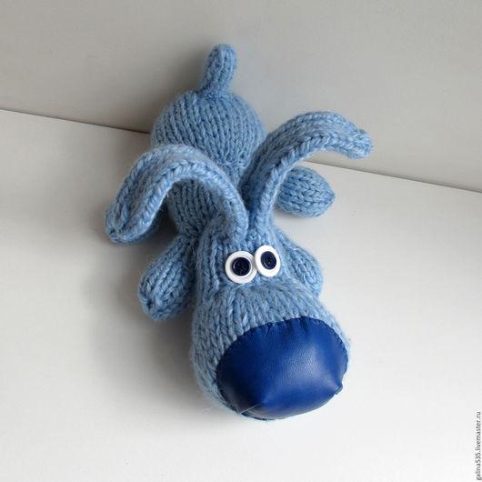 Игрушки животные, ручной работы. Ярмарка Мастеров - ручная работа. Купить Мягкая игрушка собака. Голубой щенок с кожаным носом. Вязаная игрушка. Handmade.
