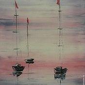 Картины и панно ручной работы. Ярмарка Мастеров - ручная работа Розовый закат на море. Handmade.