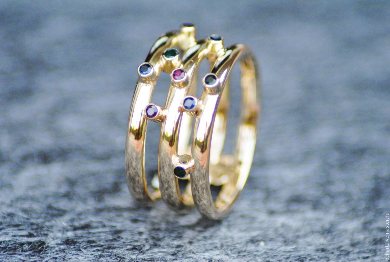 Кольцо с рубинами, сапфирами и изумрудами, Кольца, Барселона, Фото №1