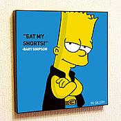 Подарки к праздникам handmade. Livemaster - original item Painting Pop Art Bart Simpson. Handmade.
