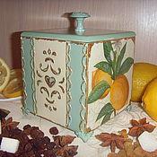 Для дома и интерьера ручной работы. Ярмарка Мастеров - ручная работа Короб для кухни деревянный  декупаж Лимонный. Handmade.