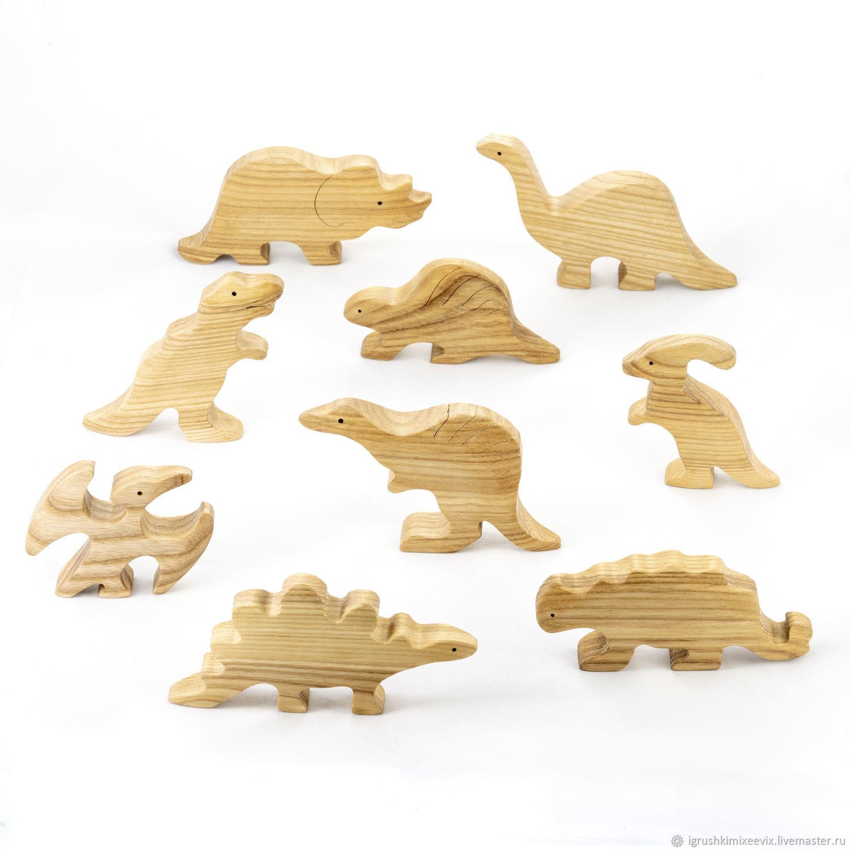 Динозавры неокрашенные набор (9 шт). Деревянные игрушки, Вальдорфские куклы и звери, Смоленск,  Фото №1