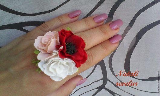 Кольца ручной работы. Ярмарка Мастеров - ручная работа. Купить Цветочное кольцо из фоамирана, летнее настроение. Handmade. Комбинированный, фом