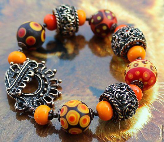 """Браслеты ручной работы. Ярмарка Мастеров - ручная работа. Купить Браслет лэмпворк """"Солнечная Африка"""". Handmade. Рыжий, браслет лэмпворк"""