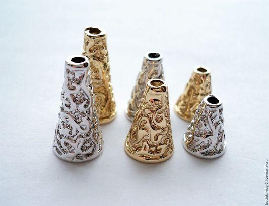 Для украшений ручной работы. Ярмарка Мастеров - ручная работа. Купить Колпачки для кисточек, шнуров 3 размера, 2 цвета. Handmade.