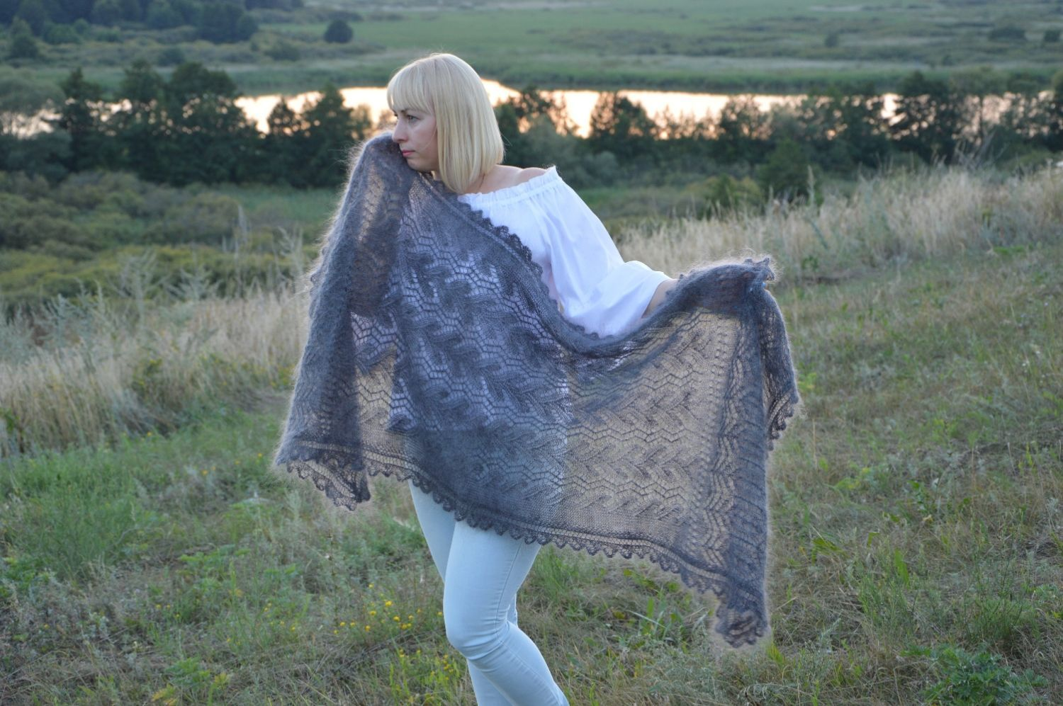 Stole 'Mysterious graphite' down knitted, Wraps, Urjupinsk,  Фото №1