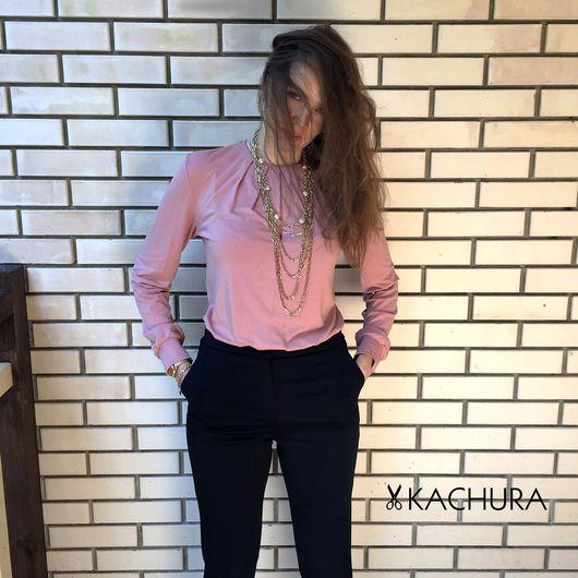 Блузки ручной работы. Ярмарка Мастеров - ручная работа. Купить Блузка трикотажная из вискозы, приятная и мягкая.. Handmade. Блузка, кремовый