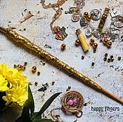 Субкультуры handmade. Livemaster - original item The author`s Magic wand Felix felitsis Harry Potter Golden. Handmade.