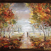 Картины и панно handmade. Livemaster - original item Oil painting in frame CHILDHOOD. Autumn in the Park. Handmade.