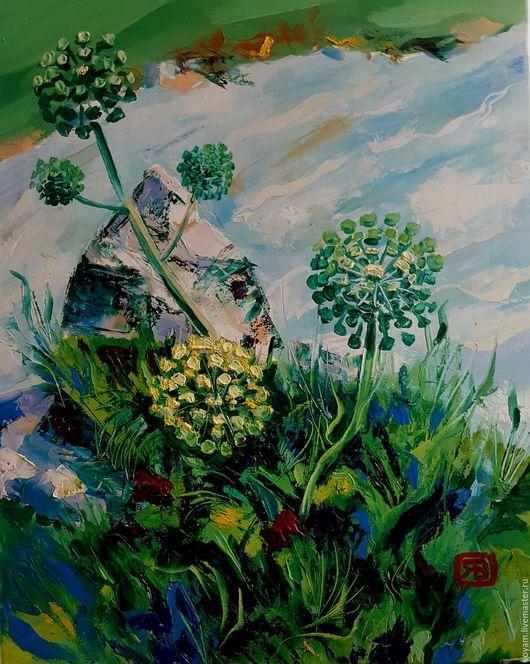 Пейзаж ручной работы. Ярмарка Мастеров - ручная работа. Купить изумрудные травы. Handmade. Зеленый, лучший подарок, горы, 2016 год