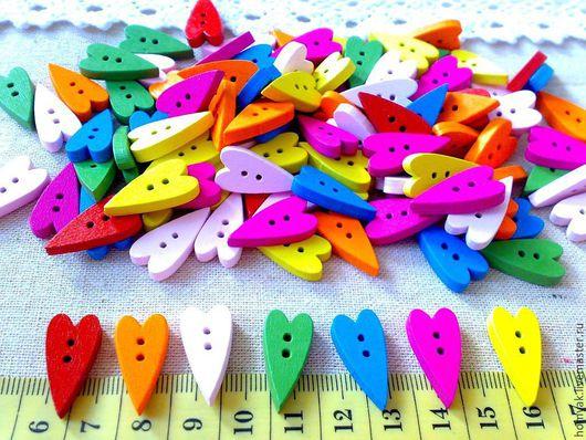 Шитье ручной работы. Ярмарка Мастеров - ручная работа. Купить Пуговицы деревянные сердечки разноцветные. Handmade. Разноцветный, пуговицы декоративные