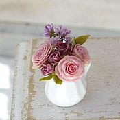 Miniature figurines handmade. Livemaster - original item Mini-bouquet with roses and lilacs in scale 1/12. Handmade.