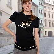 Одежда handmade. Livemaster - original item Black t-shirt fitted with a gold pattern, with a flashlight sleeve. Handmade.