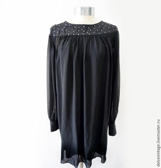 Винтажное маленькое черное платье, шелковое вечернее платье от RA-RE,Италия.