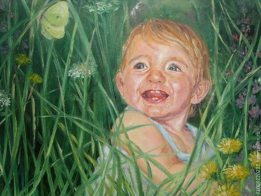 Люди, ручной работы. Ярмарка Мастеров - ручная работа. Купить Портрет ребёнка по фотографии. Handmade. Картина на заказ, малыш, холст