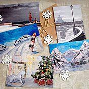 """Открытки ручной работы. Ярмарка Мастеров - ручная работа Набор открыток """"Зима"""". Handmade."""