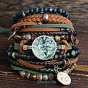 Украшения handmade. Livemaster - original item Bracelet with green jasper and tiger`s eye
