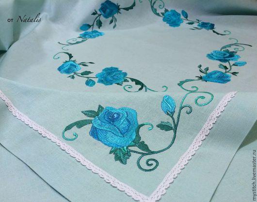 """Текстиль, ковры ручной работы. Ярмарка Мастеров - ручная работа. Купить Вышитая скатерть из бирюзового льна """"Сияющая роза"""". Handmade."""