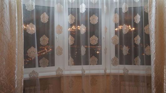 Текстиль, ковры ручной работы. Ярмарка Мастеров - ручная работа. Купить Дизайнерский тюль(Италия) подойдёт для высоких потолков. Handmade. Белый