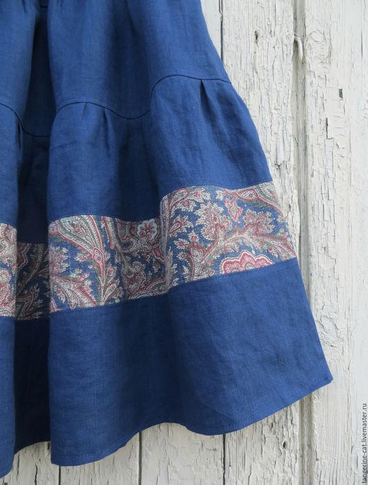 Юбки ручной работы. Ярмарка Мастеров - ручная работа. Купить Льняная юбка (в наличии 50-56). Handmade.