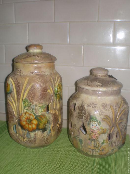 Кухня ручной работы. Ярмарка Мастеров - ручная работа. Купить Комплект из глиняных  банок для хранения лука и чеснока Кантри. Handmade.