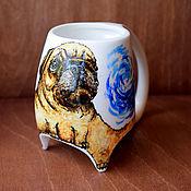 """Посуда ручной работы. Ярмарка Мастеров - ручная работа """"Мопсик"""" чашка с ножками (0736). Handmade."""