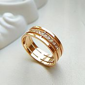 Свадебный салон handmade. Livemaster - original item Wedding Ring with gold stones (Ob1). Handmade.