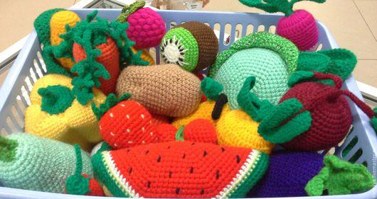 Развивающие игрушки ручной работы. Ярмарка Мастеров - ручная работа. Купить Овощи и фрукты. Handmade. Комбинированный, Вязание крючком