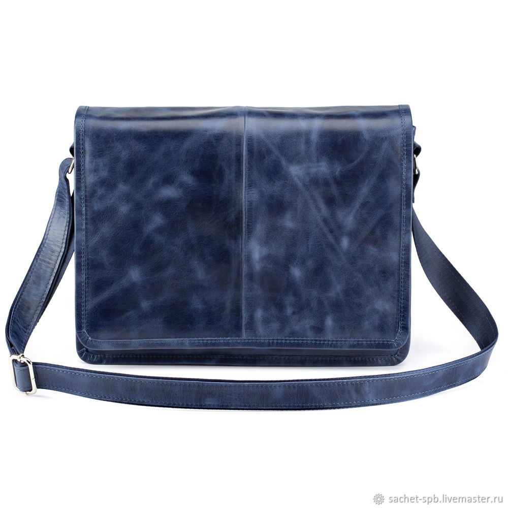 Leather bag 'Vincent' (blue antique), Classic Bag, St. Petersburg,  Фото №1